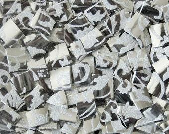 Mosaic Tiles--Silver Damask- 50 Tiles