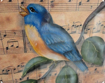 Framed Blue Bird Painting on Vintage Sheet Music Graphic, Hand Painted, Wall Decor, ECS, CSSTeam