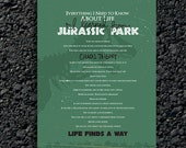 INSTANT DOWNLOAD: Everything I Need to Know About Life I Learned From Jurassic Park Poster (printable)