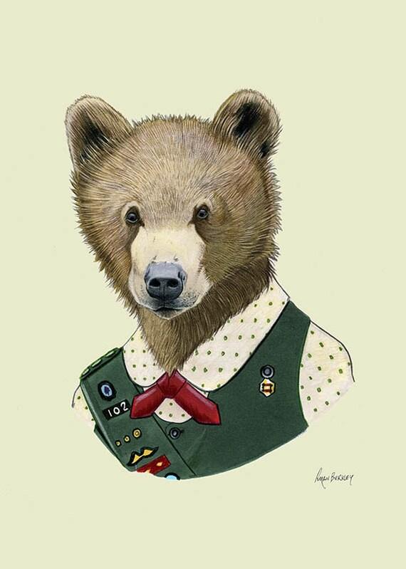 Scout Bear art print by Ryan Berkley 8x10