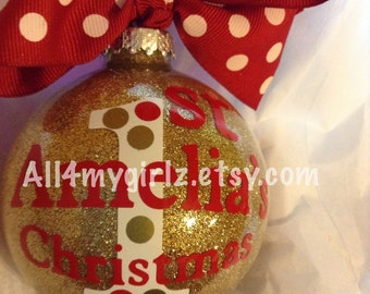 Personalized Baby's First Christmas Ornament Custom Glitter Glass Ball Bow Ribbon 2016