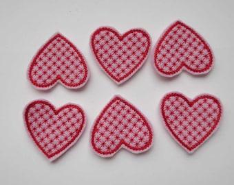 Pink Valentine Motif Heart Felt Embroidered Embellishments - 329