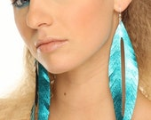 SALE FOR FERGUSON - Metallic Leather Feather Earrings
