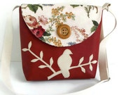 Bird on Branch Messenger Bag - Peace Dove - Adjustable Strap - Bird Applique - Vegan Faux Leather Crossbody - English Garden - Deep Red