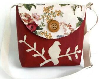 Bird on Branch Messenger Bag - Peace Dove - Adjustable Strap - Bird Applique - Vegan Faux Leather Crossbody - English Garden - Deep Red