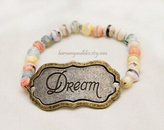 Dream bracelet, dream jewelry, gemstone jewelry, agate bead, agate bracelet, dream pendant, stack bracelet, boho stack jewelry, gift for her