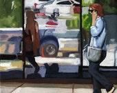 WINTER SALE! City Scene Woman on Street Original figurative oil painting