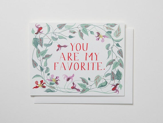 You Are My Favorite Note Card with clematis