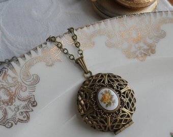 Clearance- Yellow Rose, Scent Locket Necklace with Vintage Glass Cameo
