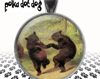 Boogie Fever --  Dancing Bears Large Glass Covered Pendant