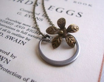 Lucky Horseshoe charm necklace - gunmetal silver half circle with golden brass flower - handmade