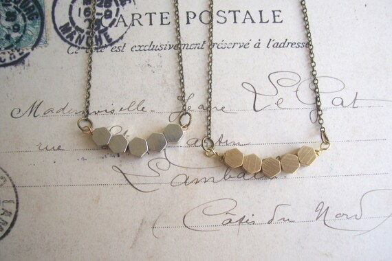 Silver Hexagon Row necklace - silver plated geometric beads - minimalist jewellery - nickel free