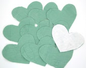 10 Cutter Quilt Hearts - Sage Green - Vintage Quilt Hearts - Shabby - Primitive crafting supplies - heart appliques