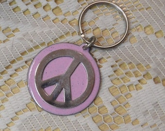 Copper Enameled peace sign key ring / pink