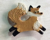 Ceramic Mosaic Tile or Brooch Pin Porcelain Fox
