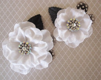 White Velvet and Rhinestone Flowers  - 2 pcs - Feathers, Millinery, Altered Couture, Hair Flowers - Embellishment