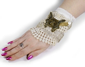 BRIDAL Wrist Cuff Taupe LEATHER Ivory LACE Huge Butterfly Brass Plaque Gears Buttons Steam Punk Weddings - Steampunk Clothing by edmdesigns