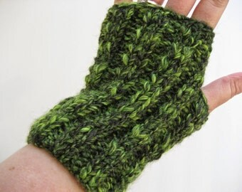 Hand Knit Fingerless Gloves, Lime Green and Black, Alpaca Wool Acrylic Blend, Yoga Hobo Texting Driving Hooping Wristlets Gauntlets Manicure
