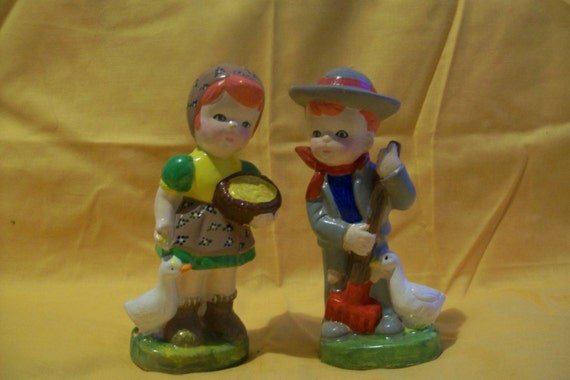 Boy & girl doing their daily chores, girl feeding ducks, boy sweeping up after ducks, child gift, ceramic figures, hand painted, collectible