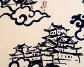 HALF YARD Kobayashi Castle in the Sky Japanese cotton canvas in cream and navy blue