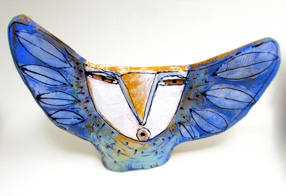"Owl Person Singing to the Wide Blue Sky. Love. Freedom. 7-3/4"" wide"