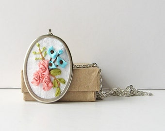 Flower bouquet necklace, embroidered jewelry, pastel silk ribbon embroidery, botanical jewelry, oval pendant with chain