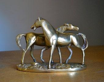 Vintage brass horse figurine. Two horses, sculpture. Equine, equestrian decoration