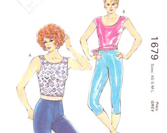 Athletic Exercise tops tights shorts sewing pattern Yoga gymnasts or Exercise wear Kwik Sew 1679 Sewing pattern Size XS to L UNCUT