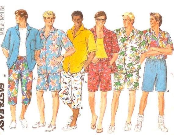 80s Bermuda shirt and shorts vintage sewing pattern Mens - photo #32