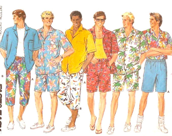 80s Bermuda shirt and shorts vintage sewing pattern Mens Summer resort wear Butterick 4763 UNCUT Large to XL