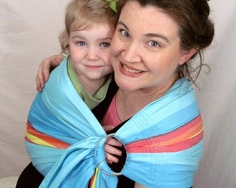 SALE - Wrap Conversion Ring Sling Baby Carrier - Lenny Lamb Corfu bamboo blend- Pleated Shoulder - DVD included, summer sling