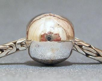 Sterling Silver Slider No. 25 Spacer Big Hole European Charm Bracelet Bead
