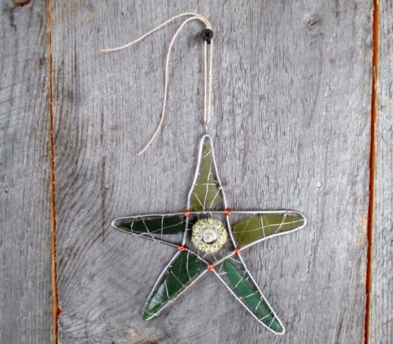 Green Sea Urchin and Sealgass Star Suncatcher Ornament