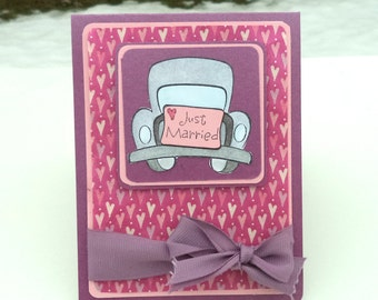 Wedding Card, Just Married Card, Pink and Purple Hearts, Congrats Wedding Card, Car Wedding Greeting Card, Handmade Card