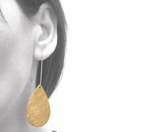 Statement Earrings, 18k gold plated sterling silver hook, XL teardrop brass with brush finished, brass jewelry, dangling earrings with backs