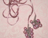 Handmade Pink Lariat Necklace with Pink Pearl Tassels on Pink Satin Cord