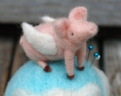 MADE TO ORDER - When Pigs Fly - Felted Flying Pig Pincushion - Farm Whimsy