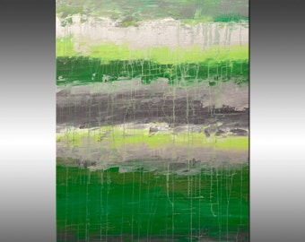 Lithospere 114 - Painting, Original Abstract Painting, Contemporary Wall Art, Acrylic Canvas Wall Art, Modern Paintings Green Gray Silver