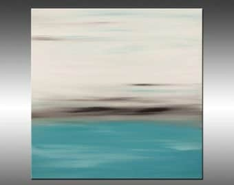 Sunset 13 - Painting Abstract Painting Art Paintings Original Painting Canvas Art Turquoise Gray White Sunset Modern Art Contemporary