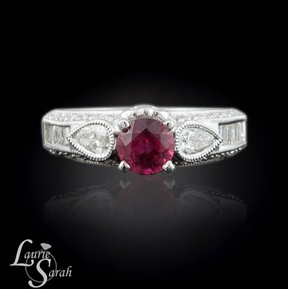 Ruby Engagement Ring, Ruby and Diamond Engagement or Right Hand Ring in 18k White Gold - LS1661