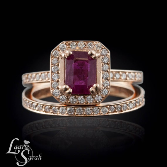 Ruby Engagement Ring And Wedding Band Set With Half Eternity