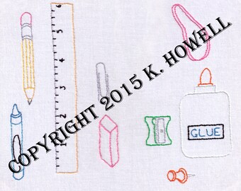 Hand Embroidery Pattern-Back to School-School Supplies