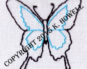 Butterfly Hand Embroidery Pattern, Bug, Wings, Pretty, PDF