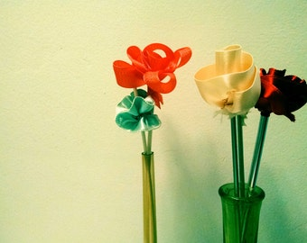 Ribbon Flowers with Knitting Needle Stems