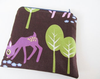WET BAG / Zippered MINI Wetbag Woodland Trees - Purse sized 5.5 x 5.5 Free Shipping