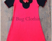 Custom Boutique Clothing Black and Red Minnie Mouse Lettuce Edge Comfy Knit Dress