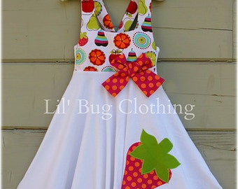 Strawberry Girls Summer Dress, Strawberry Girls Birthday Party Dress, Strawberry Pageant Dress, Boutique Girl Clothes