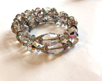 Crystal Bracelet Vintage 50s Two Strands Memory Wrap