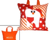 Personalized PILLOW TOOTH FAIRY Boy - Orange & Red - (With Tooth Pocket)