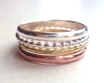 four stacked rings mixed metal rings 4 stacked rings minimalist rings stackable